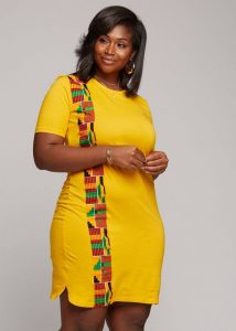 simple fitted ankara short gown for plus size, curvy ladies
