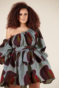 one side off shoulder short ankara party gown for chubby beauty queens