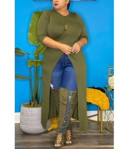 stylish, long plain ankara split gown with jeans trousers for plus size, busty young ladies