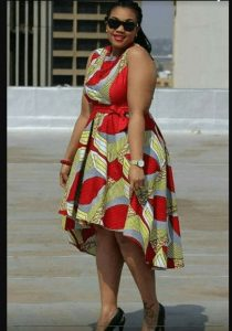short ankara tilted gown for chubby ladies