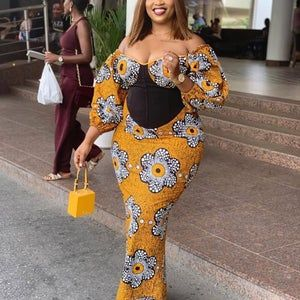 stylish ankara long gown style for busty, curvy, plus size ladies