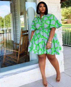 ankara short cinderella gown style for plus size, curvy ladies