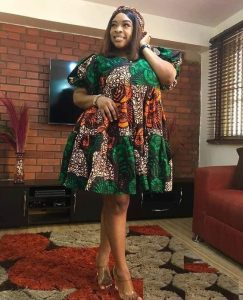 busty, plus size ladies short ankara gown for wedding and church