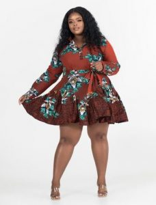 long sleeve ankara flay gown style for plus size, curvy ladies