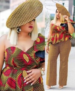 ankara palazzo trousers, with top and ankara fascinator hat for classy ladies
