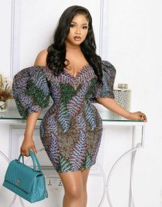 ankara lace off shoulder short gown style for young, curvy ladies, pencil gown style