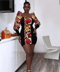 short ankara gown style with puff-balloon sleeves for classy, curvy ladies