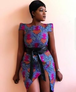 front-tilted ankara short gown for curvy, busty young ladies