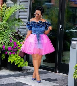 ankara plus jeans off shoulder, short flay gown style for classy, curvy ladies