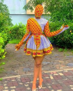 special ankara short flay gown style with face completely covered