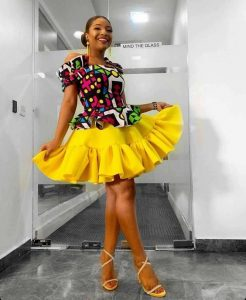 two steps ankara short flay gown with cold shouldered sleeve style