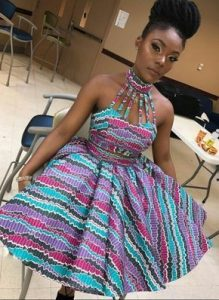 stylish neck sleeved, short ankara flay gown for young ladies