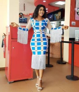 stylish ankara pencil gown style with fringes