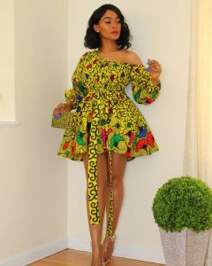 one side off shoulder, long sleeve ankara short flay gown style for classy ladies