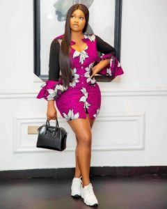 chicly ankara short pencil gown with canvas