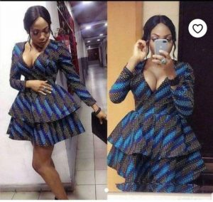 hot, two steps ankara short gown style for curvy, busty young ladies