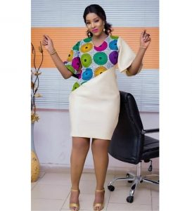 classy ankara short pencil gown for curvy ladies
