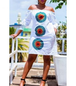 off shoulder, balloon sleeved, ankara short straight gown for ladies