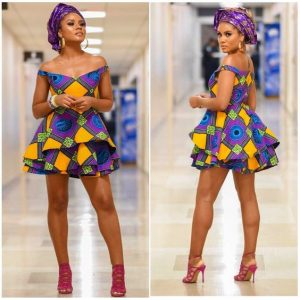 ankara off shoulder, two steps short flay gown with gele hair tie, wedding and carnival fashion style