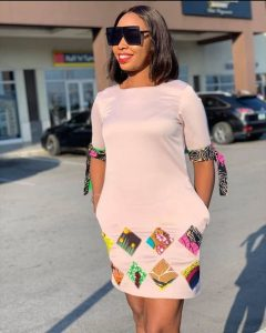 simple but cute ankara short straight gown style with banded sleeves