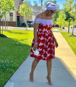 off shoulder, ankara plus lace short gown style for church and sunday service