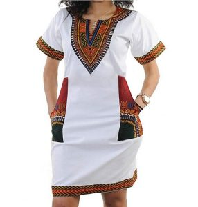 embroidered ankara short kaftan gown with side pocket