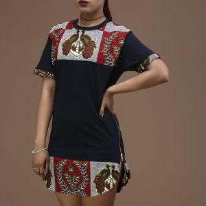 ankara short shirt gown with side zipper dress style