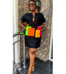 ankara short shirt gown with multiple front pocket, short kaftan style for young ladies