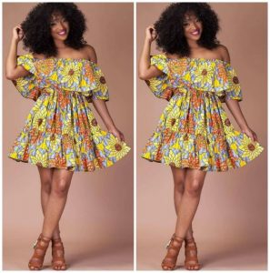 ankara off shoulder short flay gown with cape