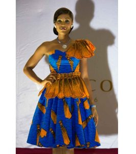 special one sleeve ankara short flay gown style for wedding