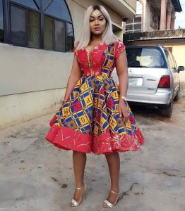 mercy aigbe spotted in ankara short flay gown, celebrity fashion style
