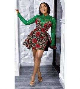 high neck, long sleeve ankara plus lace short flay gown style for curvy young ladies