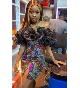 stylish off shoulder ankara african print short pencil gown, front-split for young ladies