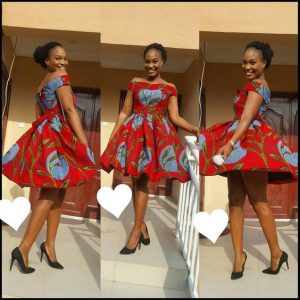 simple off shoulder ankara short flay gown style for young ladies
