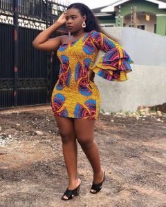 one sleeve african print short gown for young ladies