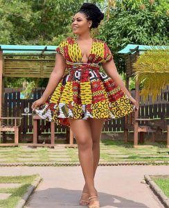 cute ankara short flay gown for curvy young ladies