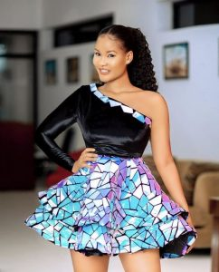 one sleeve, two steps ankara short flay gown style for wedding and party