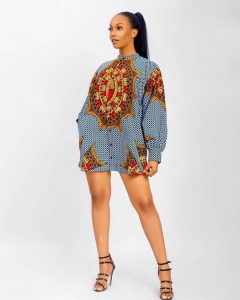 long sleeve ankara short shirt gown style for young classy ladies