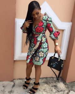 ankara short wrapped gown for young ladies, church, wedding and party fashion style