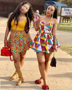 ankara short flay skirt with crop top style for cute young ladies