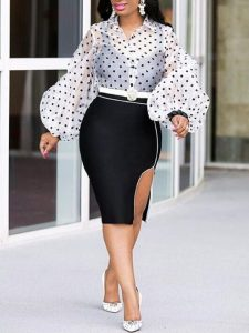high waist short pencil skirt, side split, with puff sleeved ankara blouse style for curvy young ladies