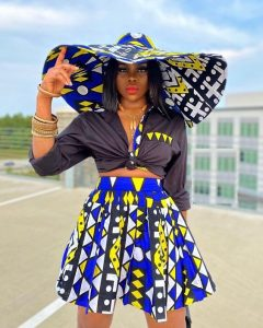 front-knotted crop top with short ankara high waist flay skirt, with hat for classy ladies