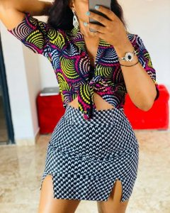 cute ankara short skirt with front-knotted crop top for young ladies