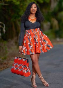 high waist ankara short flay skirt with long sleeve blouse for young ladies