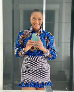 ankara short fringe skirt with long sleeve blouse style for young ladies