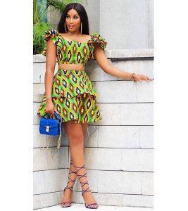 two steps ankara short flay skirt with crop top for slim, curvy ladies