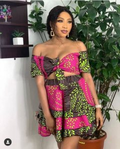off shoulder ankara crop top with short flay skirt for young ladies