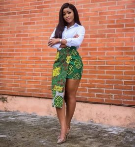stylish short ankara skirt with long sleeve top style for curvy young ladies