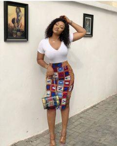 stylish ankara short high waist pencil skirt with top for curvy, busty ladies, office skirt style