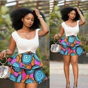 two steps short ankara flay skirt with top for young ladies